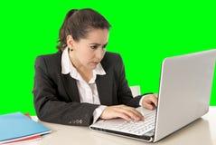 Vestito d'uso dalla donna di affari che lavora alla chiave di intensità di verde del computer portatile fotografia stock