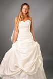 Vestito da cerimonia nuziale da portare della bella sposa in studio Immagine Stock Libera da Diritti