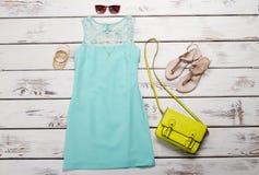 Vestito da estate del turchese Immagini Stock