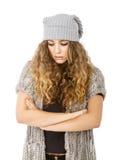 Vestito da inverno per un triste di modello piacevole immagini stock libere da diritti