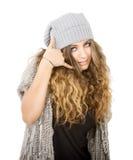 Vestito da inverno per una ragazza della call center immagini stock libere da diritti