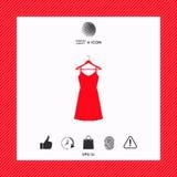 Vestito da sera, da prendisole, combinazione o camicia da notte sul gancio del guardaroba, la siluetta Voce di menu nel web desig Fotografia Stock Libera da Diritti