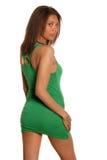 Vestito da verde della donna dell'afroamericano indietro Fotografia Stock Libera da Diritti