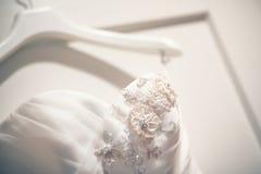Vestito dal dettaglio della sposa Immagine Stock