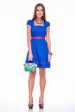 Vestito dalla donna di affari del modello di fascino di stile del catalogo dei vestiti di modo Fotografie Stock Libere da Diritti