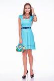 Vestito dalla donna di affari del modello di fascino di stile del catalogo dei vestiti di modo Immagini Stock Libere da Diritti