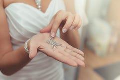 Vestito dalla sposa i gioielli del diamante di nozze Fotografie Stock Libere da Diritti
