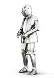 Vestito dell'armatura per tutto il corpo isolato su fondo bianco 3d si strappano Immagini Stock Libere da Diritti