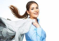 Vestito di moto della tenuta della donna di affari Fotografia Stock