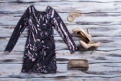 Vestito e scarpe frizzanti grigi Fotografia Stock Libera da Diritti