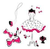 Vestito ed accessori alla moda dal pois Immagini Stock Libere da Diritti