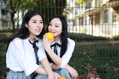 Vestito grazioso cinese asiatico dello studente di usura di due il giovane ragazze nei migliori amici della scuola sorride frutta Fotografie Stock Libere da Diritti