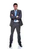 Vestito grigio del gessato dell'uomo d'affari isolato Fotografie Stock