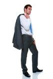 Vestito grigio del gessato dell'uomo d'affari isolato Fotografia Stock