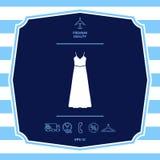 Vestito lungo da sera, dal vestito o prendisole con la cinghia, la siluetta Voce di menu nel web design immagini stock