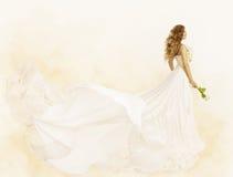 Vestito lungo, fiore dell'abito di giallo di bellezza della donna, vestiti di modo Immagini Stock
