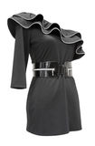 Vestito nero della Jersey, percorso di residuo della potatura meccanica Immagine Stock