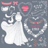 Vestito nuziale dalla doccia, insieme di elementi floreale della decorazione illustrazione di stock
