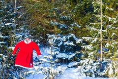 Vestito rosso dalla Santa del bambino in una foresta nevosa dell'abete Immagine Stock Libera da Diritti