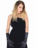 Vestito seducente da Coy Young Woman Wearing Black Fotografie Stock
