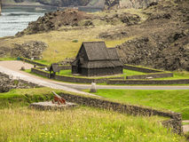 Vestmann Islands Iceland. In 1973 the volcanoe Helgafell erupted, forcing the habitants to retreat to the mainland Iceland. After 40 years the lava is still a Stock Photography