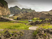 Vestmann Islands Iceland. In 1973 the volcanoe Helgafell erupted, forcing the habitants to retreat to the mainland Iceland. After 40 years the lava is still a Stock Photo