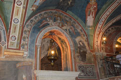 Vestments and paintings in a monastery in the valley of the Bene Stock Images