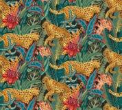 Vestor bezszwowy wzór z jaguarami, tropikalnymi liśćmi i kwiatami, ilustracji