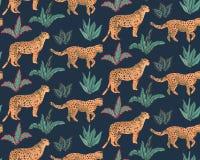 Vestor bezszwowy wz?r z jaguarami, tropikalnymi li??mi i ro?linami, ilustracji