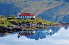 Vestpollen chapel in Austnesfjord Royalty Free Stock Photography