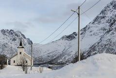 Vestpollen chapel in Austnesfjord, Lofoten Islands Stock Photos