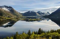 Vestpollen chapel in Austnesfjord, Lofoten Islands Royalty Free Stock Image