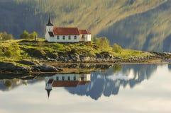 Vestpollen chapel in Austnesfjord, Lofoten Islands Royalty Free Stock Photos