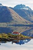 Vestpollen chapel in Austnesfjord Stock Image