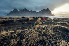 Vestrahorn mount and black sand. Stock Photos