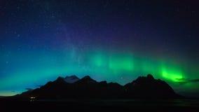 Vestrahorn mountain with Aurora borealis, Iceland Royalty Free Stock Photo