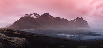 Vestrahorn Mountain in Iceland at Sunset royalty free stock image