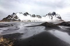 Vestrahorn mountain, Iceland. View of Vestrahorn mountain, one of the most photographed places in Iceland Royalty Free Stock Images