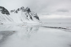 Vestrahorn mountains with reflection in the ocean, Stokksnes Peninsula, Iceland Royalty Free Stock Photo