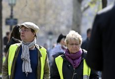 `Vests Yellow` two protesters stock photography