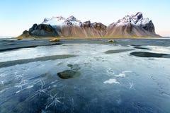 Vesturhorn山,冰岛 图库摄影