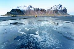 Vesturhorn山,冰岛 库存照片