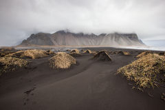 Vesturhorn Mountain and black sand dunes, Iceland Stock Photo