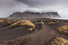 Vesturhorn Mountain and black sand dunes, Iceland Royalty Free Stock Photography