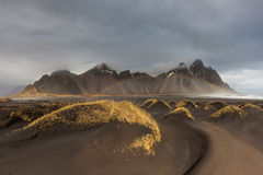 Vesturhorn Mountain and black sand dunes, Iceland Royalty Free Stock Images