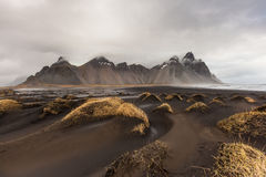 Vesturhorn Mountain and black sand dunes, Iceland Stock Images