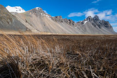 Vesturhorn mountain landscape in Southeast of Iceland. Vestrahorn Iceland is one of the most photographed mountains on the island. Located on the Stokksnes Royalty Free Stock Images