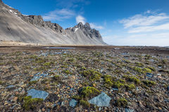 Vesturhorn mountain landscape in Southeast of Iceland. Vestrahorn Iceland is one of the most photographed mountains on the island. Located on the Stokksnes Stock Images