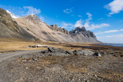 Vesturhorn mountain landscape in Southeast of Iceland. Vestrahorn Iceland is one of the most photographed mountains on the island. Located on the Stokksnes Royalty Free Stock Photography