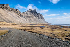 Vesturhorn mountain landscape in Southeast of Iceland. Vestrahorn Iceland is one of the most photographed mountains on the island. Located on the Stokksnes Royalty Free Stock Photo